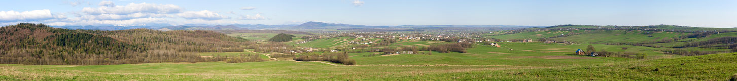 Spring foothill panorama landscape Royalty Free Stock Images