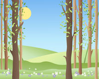 Spring forest. An illustration of the edge of a springtime forest with green fields young leaves and flowers under a warm blue sky Royalty Free Stock Photography