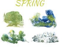 Spring forest, abstract drawing on white background. Group of objects vector illustration