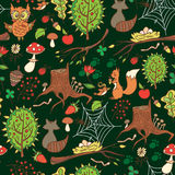 Spring forest  background. Spring forest  background with plants and animals Vector Illustration