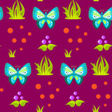 Spring forest blue butterfly seamless pattern. Royalty Free Stock Photography