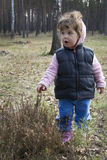 In the spring forest girl with surprise touches the grass. Stock Image