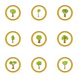 Spring forest icons set, cartoon style. Spring forest icons set. Cartoon style set of 9 spring forest vector icons for web design Royalty Free Stock Photos