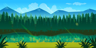 Spring forest landscape. Never ending nature background with separated layers for game design .2d game application. Illustration for your application , project Stock Image