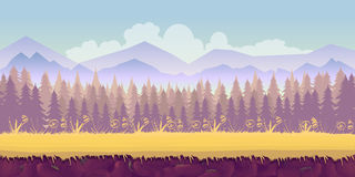 Spring forest landscape, never ending vector nature background with separated layers for game design .2d  application. Spring forest landscape, never ending Royalty Free Stock Images