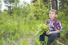 Spring in the forest little boy  holding a small bouquet lily of Stock Photography