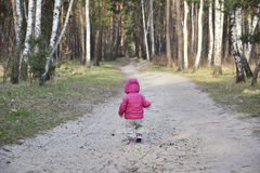 Spring in the forest little girl walking along the road. Stock Image