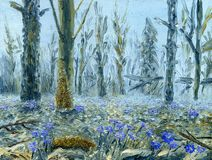 Spring forest with lots of blue flowers. Oil painting on canvas. A close-up of the inflorescences in the foreground. In the background are various trees and Royalty Free Stock Photo