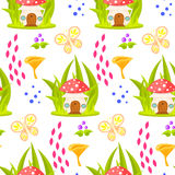 Spring forest mushroom house seamless pattern. Stock Photography