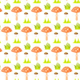 Spring forest mushroom seamless pattern. Royalty Free Stock Photo