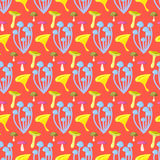 Spring forest mushroom seamless pattern. Stock Photos