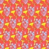 Spring forest mushroom seamless pattern. Stock Photos