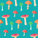 Spring forest russule mushroom seamless pattern. Stock Images