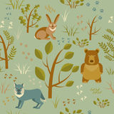 Spring forest seamless pattern stock images