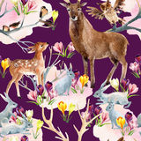 Spring forest seamless pattern. Royalty Free Stock Photos
