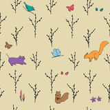 Spring forest seamless pattern. Spring forest hand drawn seamless pattern Stock Photography