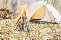 In the spring forest a tent with a fire a Royalty Free Stock Photos
