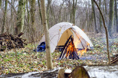 In the spring forest a tent with a fire a Stock Image