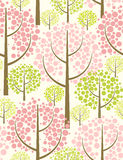Spring forest. Vector seamless pattern. Spring forest. Vector seamless pattern in pink and green Stock Image
