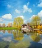 Spring in formal Chinese garden on a bright sunny day Stock Image