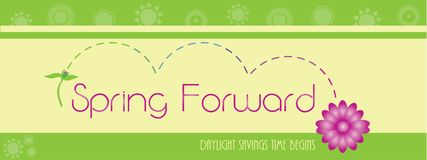 Spring Forward Background Sky and Grass Bubbles Light Flair. Spring Forward Daylight Savings Time Background Sky and Grass Bubbles Light Flair Template stock illustration