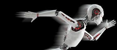 Spring för robotandroidkvinna Royaltyfri Fotografi