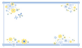 Spring frame. Frame decorated with flowers and butterflies in pastel colors blue and yellow royalty free illustration