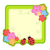Spring frame. Frame with spring flowers and ladybugs