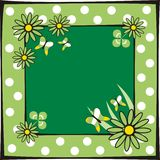 Spring frame. Green frame with flowers and butterflies Vector Illustration