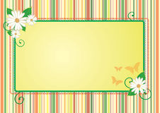 Spring frame. Abstract spring frame with stripes and flowers royalty free illustration