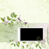 Spring frame with artificial paper flowers Royalty Free Stock Photos