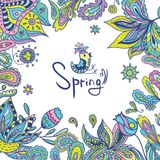 Spring Frame with Ethnic Ornaments Royalty Free Stock Photos