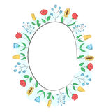 Spring frame with field flowers  on white Stock Images