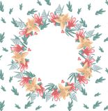 Spring frame of flowers and leaves. Raster pictures royalty free illustration