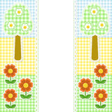 Spring frame with flowers on textile background Stock Photography