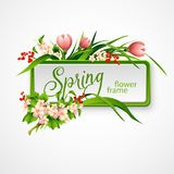 Spring frame with flowers. Vector illustration. EPS 10 Vector Illustration