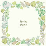 Spring frame made of leaves. Stock Photo