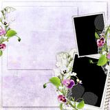 Spring frame and paper stack with heartsease Stock Image
