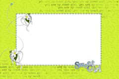 Spring frame for photo. Green background with text. Heart around the perimeter of the frame Stock Images
