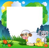 Spring frame with various animals Royalty Free Stock Photo