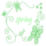 Spring frame. Vector spring frame with leaves, butterflies and swirls Stock Photo