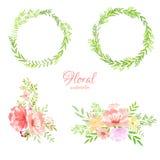 Spring frame watercolor flowers vector. Set royalty free illustration