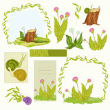 Spring frames. Spring and summer nature and simple frames Stock Illustration