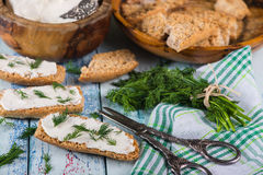 Spring fresh dill for breakfast with  bread Stock Photos
