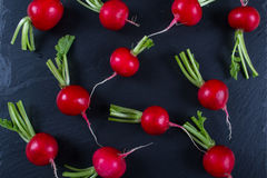 Spring fresh radishes background on  the black slate board. Top view Stock Images