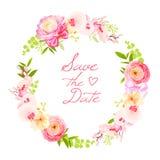 Spring fresh rose, ranunculus, peony, berry round vector frame Royalty Free Stock Photos