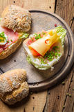 Spring Fresh sandwich with ham and cheese royalty free stock photo