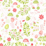 Spring fresh seamless pattern with birds, leaves, flowers Royalty Free Stock Photography