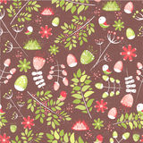 Spring fresh seamless pattern with birds, leaves, flowers Royalty Free Stock Images