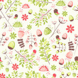 Spring fresh seamless pattern with birds, leaves, flowers Stock Images